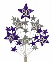Star age 80th birthday cake topper decoration in purple and silver  - free postage
